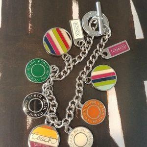 Auth. COACH Handbag Silver & Enamel Charm Bracelet